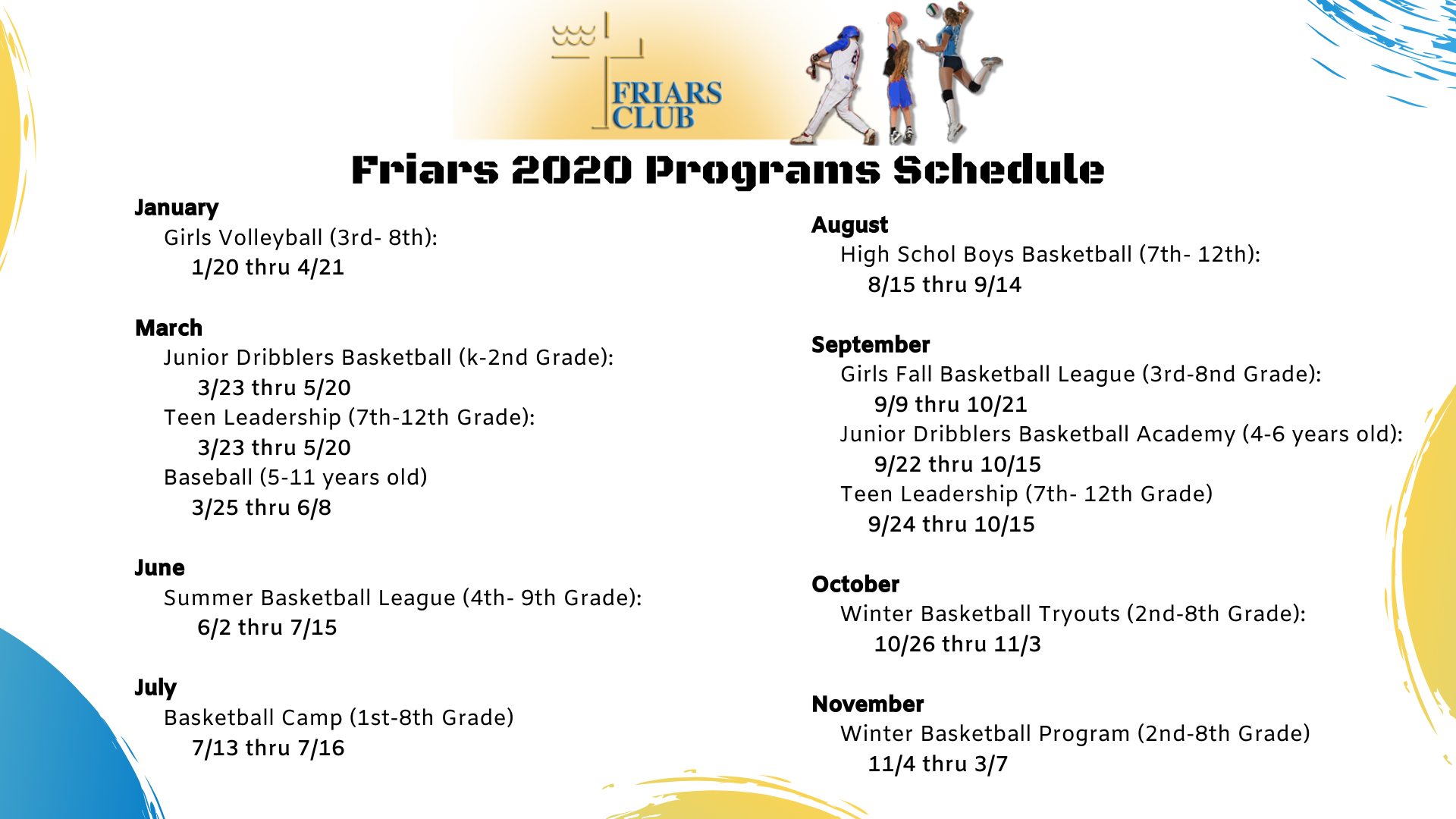Friars 2019 Programs Schedule